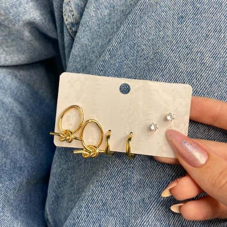 Kit de brincos, 3 pares, amanda, nó, R$ 4,96 o par, dourado - REF B921