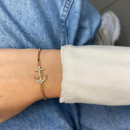 Pulseira amanda, âncora, dourada - REF P661
