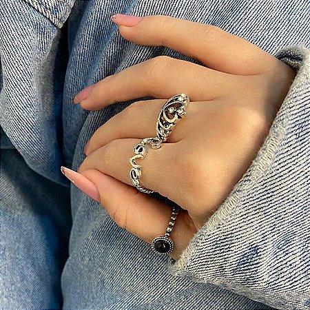 Conjunto de anéis com 3 peças, queen, preto, prateado envelhecido - REF K075