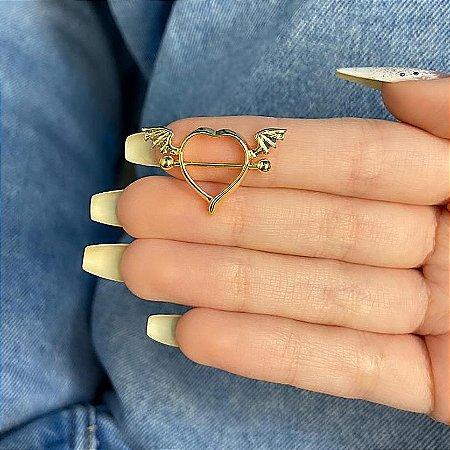 Piercing de furo, mamilo, coração (com asas), dourado - REF X255
