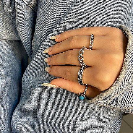 Conjunto de anéis com 4 peças, califórnia, azul, prateado envelhecido - REF K077
