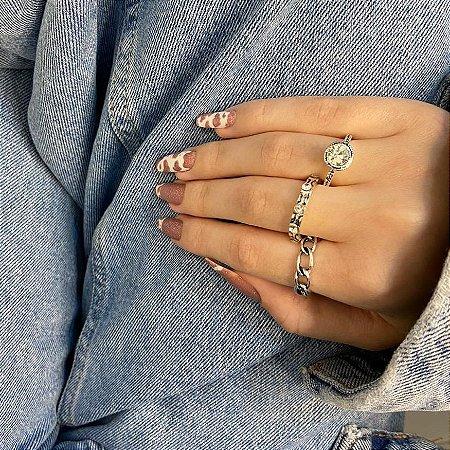 Conjunto de anéis com 3 peças, trança, incolor, prateado - REF K079