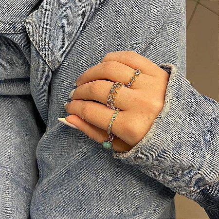 Conjunto de anéis com 4 peças, paris, azul turquesa, dourado - REF K080