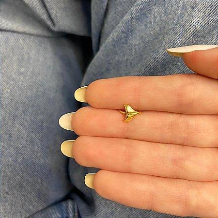 Piercing de furo, argolinha, rabo de baleia, dourado - REF X262