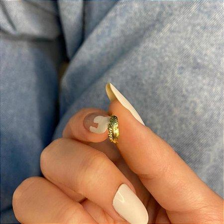 Piercing de furo, argolinha, folha, dourado - REF X263