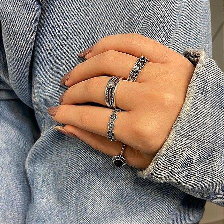 Conjunto de anéis com 4 peças, itália, preto, prateado envelhcido - REF K084