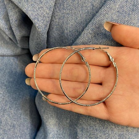 Brinco new collection, argola mininal, prateada - REF  B956