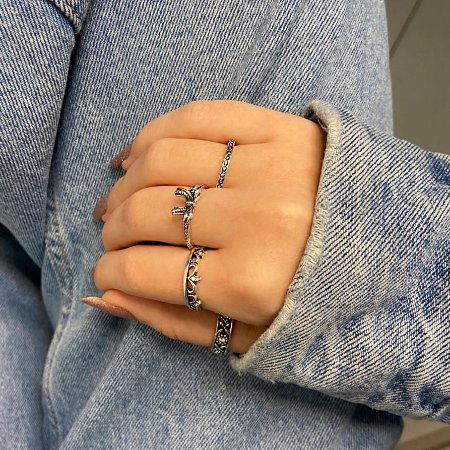 Conjunto de anéis com 4 peças, laço, prateado envelhecido - REF K086