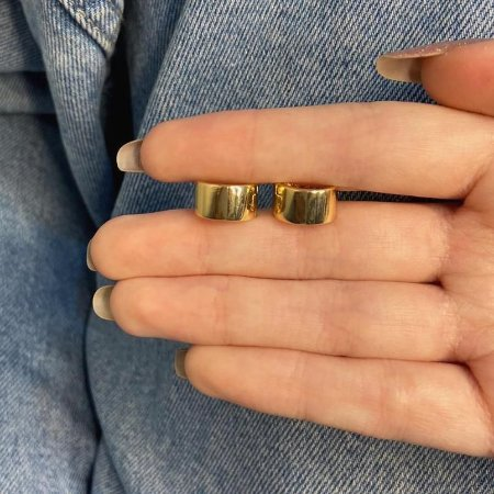 Brinco mini argolinha, amanda, bamboo bold, dourada - REF B961