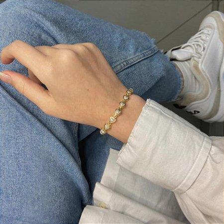 Pulseira  afrodite, coração perolado, dourada - REF P686