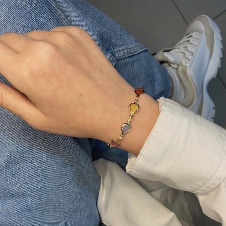 Pulseira atena, corações, colorida, dourada - REF P698