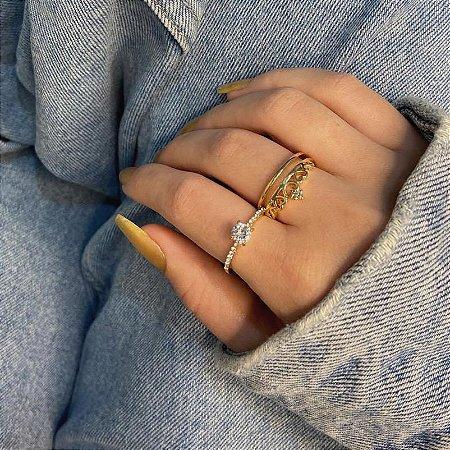 Anel duplo jack, 1 anel queen + 1 anel solitário, dourado - REF A363