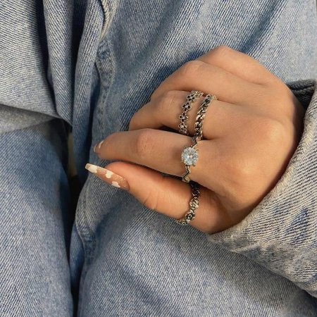 Conjunto de anéis com 4 peças, san diego, prateado - REF K089
