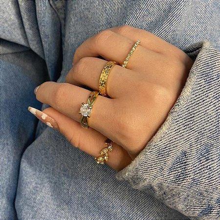 Conjunto de anéis com 4 peças, folhagem, dourado - REF K091