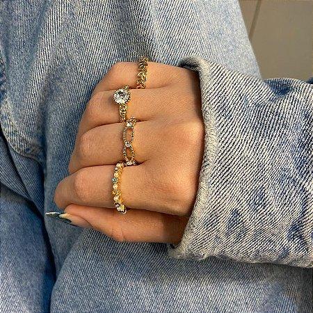 Conjunto de anéis com 4 peças, pérolado colorido, dourado - REF K092