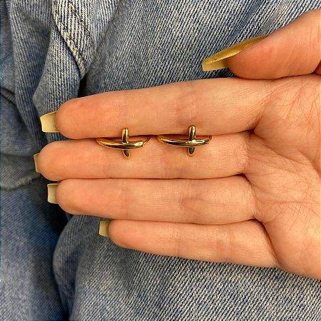 Brinco mini argolinha, amanda, cruz, dourada - REF B982