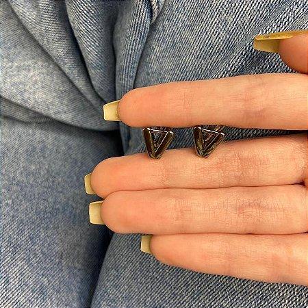Brinco mini argolinha, amanda, v, ródio negro - REF B986