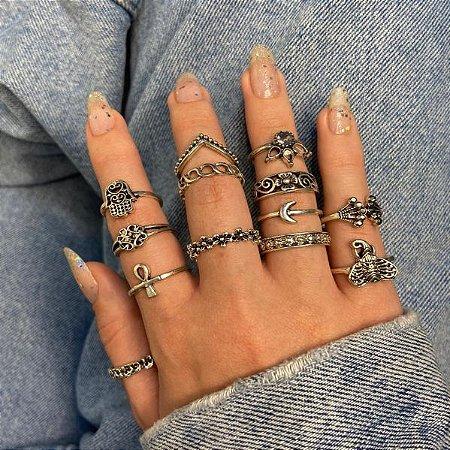 Conjunto de anéis com 13 peças, asia, prateado envelhecido, R$ 2,30 cada anel - REF K094