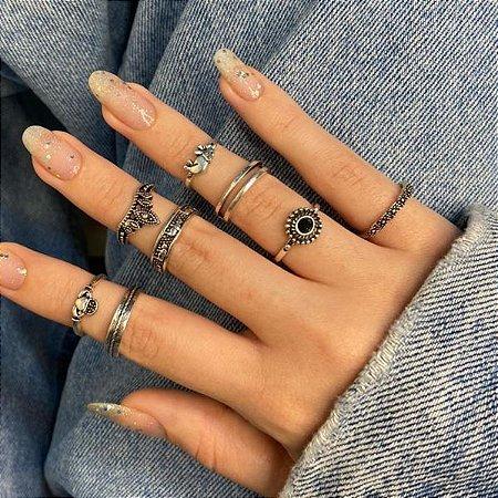 Conjunto de anéis com 8 peças, asia, prateado envelhecido, R$ 3,11 cada anel - REF K096