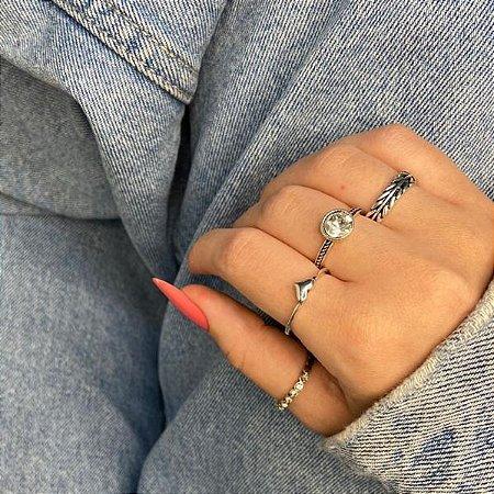 Conjunto de anéis com 4 peças, charme, prateado envelhecido - REF K097