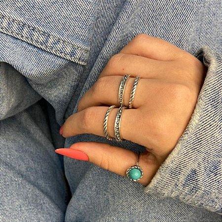 Conjunto de anéis com 5 peças, fashion, turquesa, prateado envelhecido - REF K098