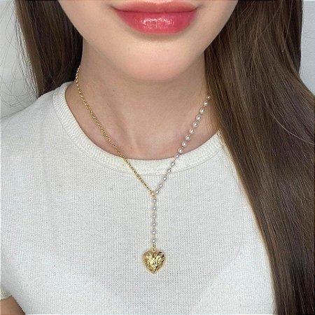 Colar médio, ale, cadeado, coração (arabesco), dourado - REF C145