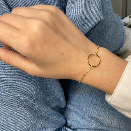 Pulseira jenis, polly, círculo, dourada - REF P709