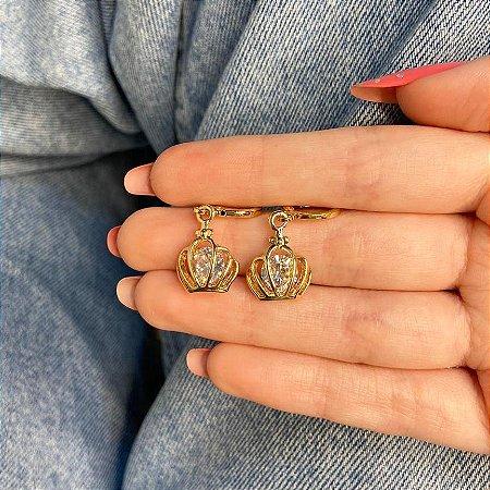 Brinco mini argolinha, amanda, coroa shine, dourada - REF B1000