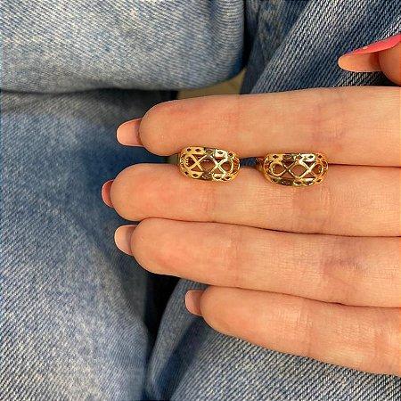 Brinco mini argolinha, amanda, infinito, tam. M, dourada - REF B1007