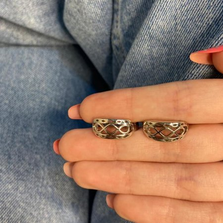 Brinco mini argolinha, amanda, infinito, tam. G, prateada - REF B1011