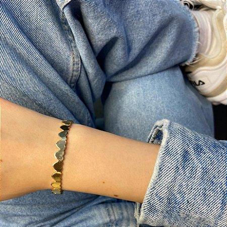 Pulseira bracelete amanda, corações, dourada - REF P715