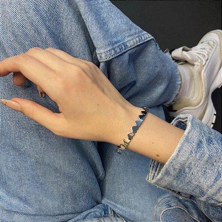 Pulseira bracelete amanda, corações, prateada - REF P716