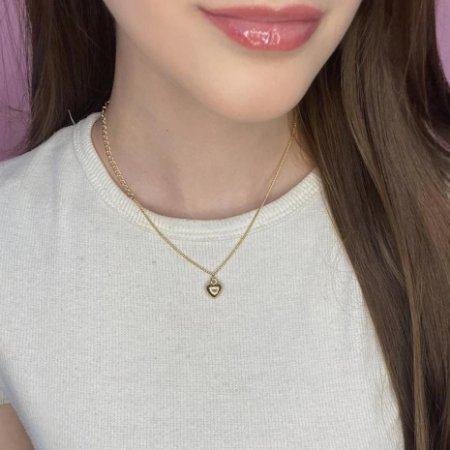 Colar curto, amanda, coraçãozinho, dourado - REF C189