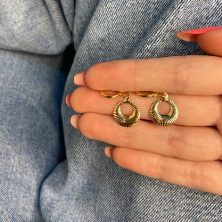 Brinco mini argolinha, amanda, noite, dourada - REF B1062