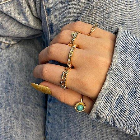 Conjunto de anéis com 5 peças, musa, turquesa, dourado - REF K101