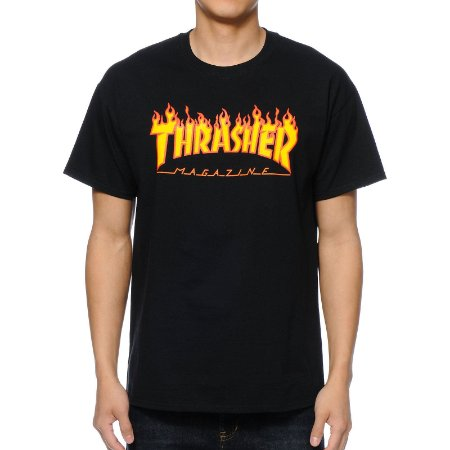 Camiseta Thrasher Flame Logo - Black