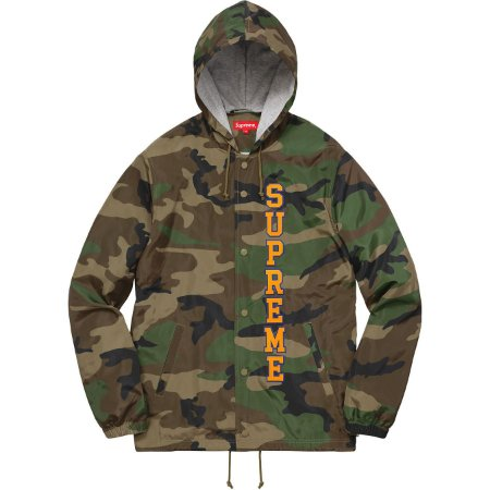 Moletom Supreme Vertical Logo Hooded Coaches - Woodland Camo