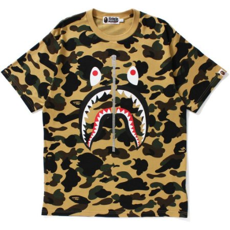 Camiseta Bape 1ST Camo Shark Mens Yellow