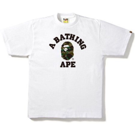 Camiseta Bape 1ST Camo College Mens White
