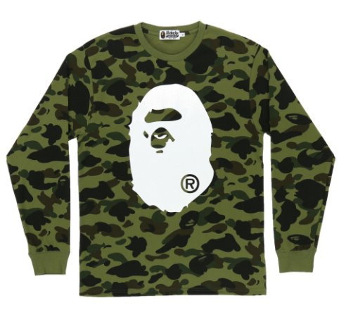 Camiseta Bape Long Sleeve 1ST Camo Big Ape Head
