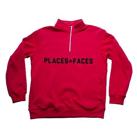 Half Zip Places+Faces Quarter - Red