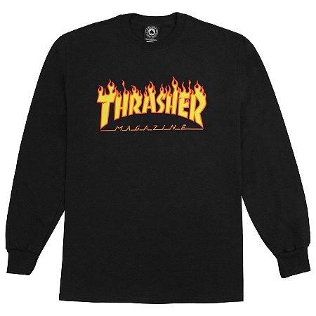Camiseta Long Sleeve Thrasher Flame Logo - Black
