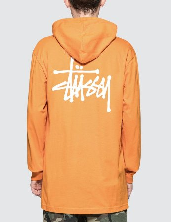Camiseta Stussy Long Sleeve Hood - Orange