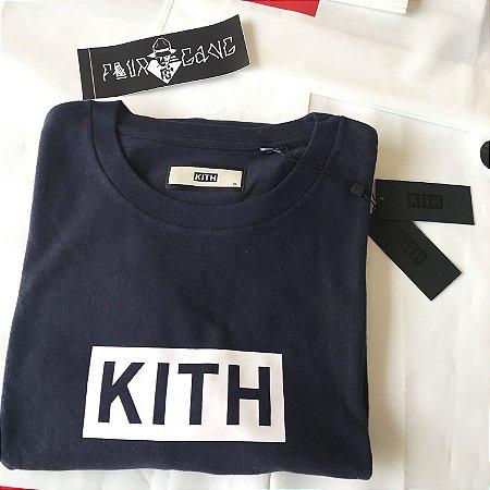 Camiseta Long Sleeve Kith Box Logo - Navy