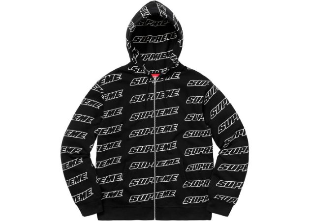 Moletom Supreme Repeat Zip Up Hooded - Black