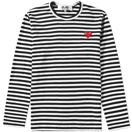 Long Sleeve Comme Des Garçons Play Heart Logo Stripe - B & W