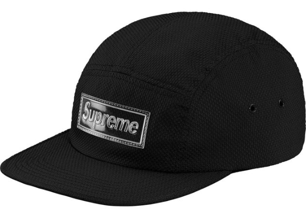 Boné 5-Panel Supreme Nylon Pique Camp - Black