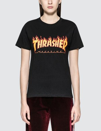 Camiseta Thrasher SS Flame Logo - Black