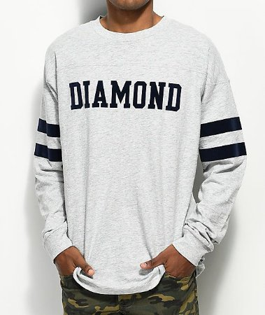 Camiseta Long Sleeve Diamond Supply Co. Football - Grey
