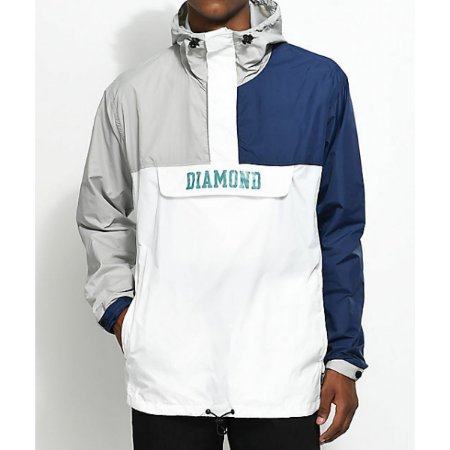 Jaqueta Corta Vento Diamond Supply Co. Drexel - White